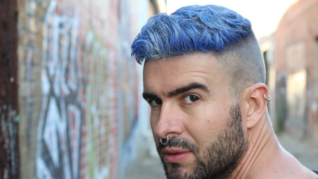 Short Hair with Shaved Sides and Coloured Top Hairstyles Men